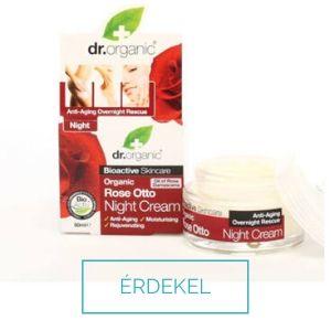 Dr Organic rózsa éjszakai arckrém csipkebogyó olajjal