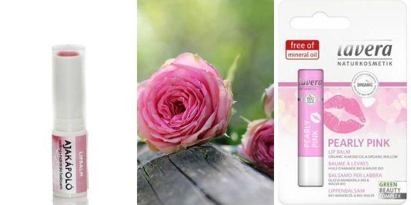 Rózsaszín natúr, vegán ajakbalzsam kőolajszármazék nélkül