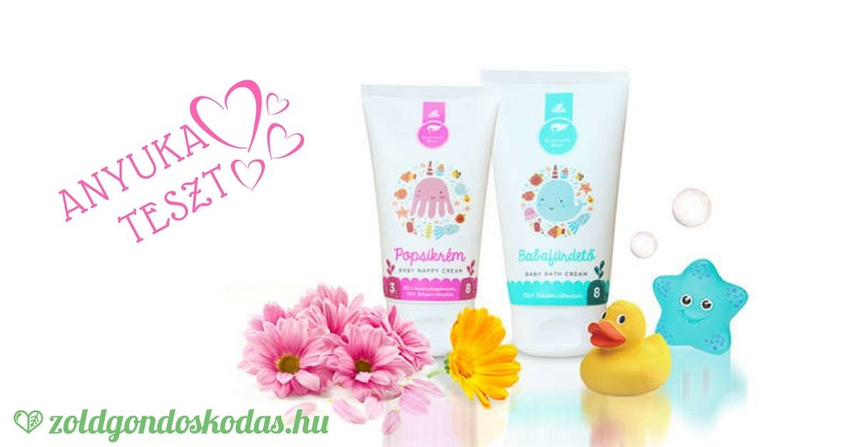 Anyuka termék teszt Schüssler természetes sls mentes baba fürdető és shea vajas popsikrém