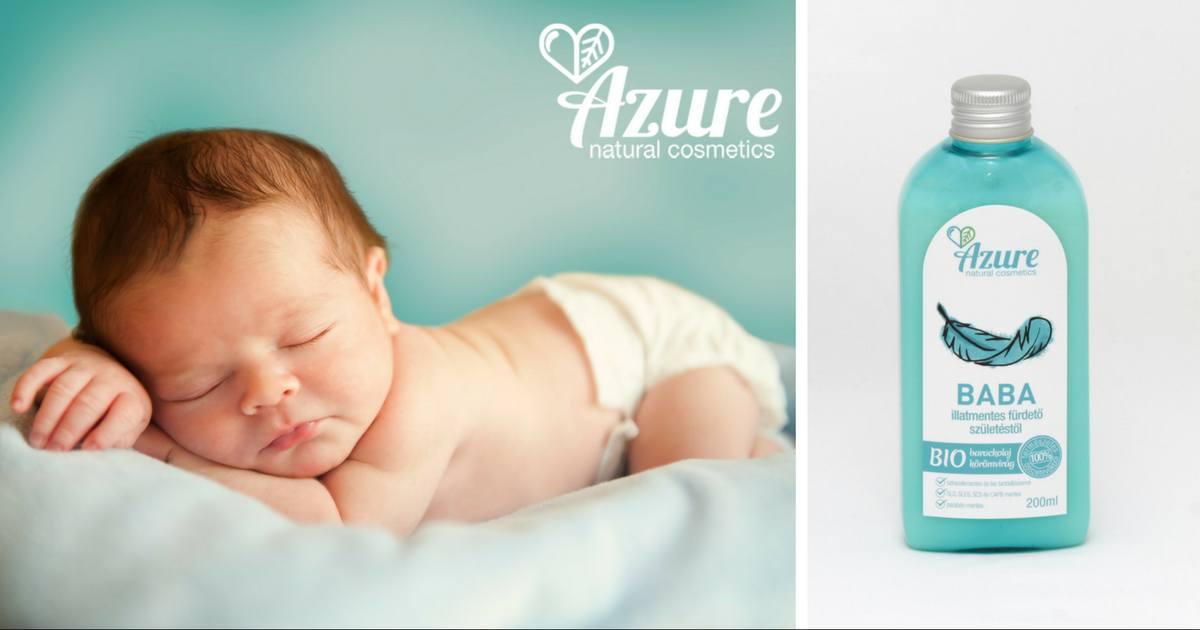 Azure illatmentes, natúr olajos baba fürdető bio barackolajjal újszülött kortól