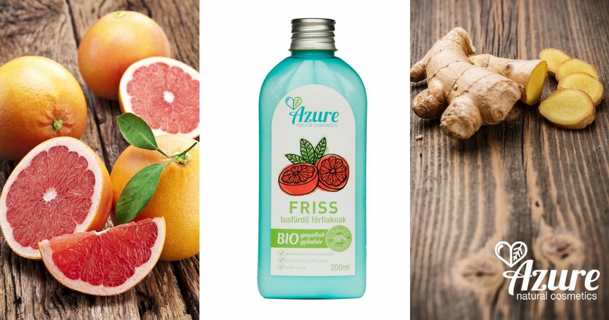 Azure Friss féri olajos natúr tusfürdő bio grapefruit és bio gyömbér