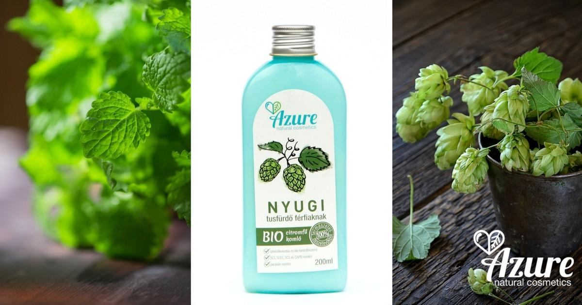 Azure Nyugi férfi natúr tusfürdő bio komló, bio citromfű