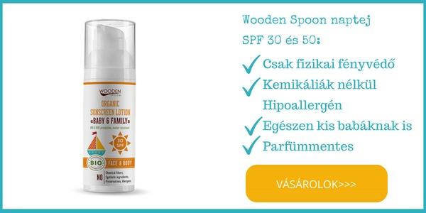 Wooden Spoon bio baba naptej spf 30 es spf 50 ekcémásoknak is